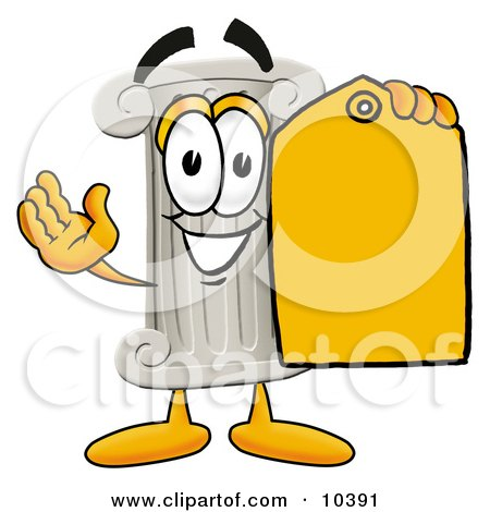 Clipart Picture of a Pillar Mascot Cartoon Character Holding a Yellow Sales Price Tag by Toons4Biz