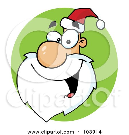 Royalty-Free (RF) Clipart Illustration of a Happy Cartoon Santa Head Facing Left On A Green Circle by Hit Toon