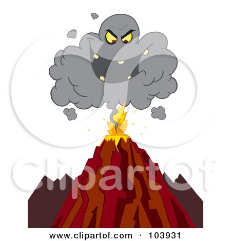 Royalty-Free (RF) Clipart Illustration of an Evil Ash Cloud Above An Erupting Volcano by Hit Toon