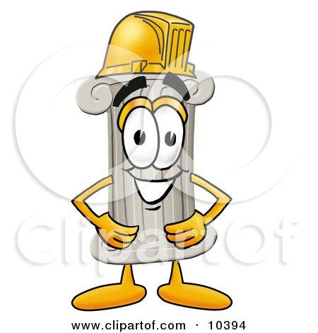 Clipart Picture of a Pillar Mascot Cartoon Character Wearing a Helmet by Toons4Biz