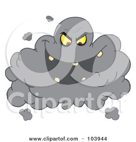 Royalty-Free (RF) Clipart Illustration of an Evil Ash Cloud Laughing by Hit Toon