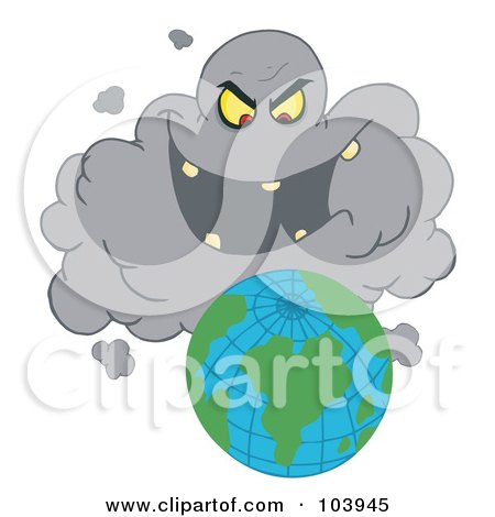 Royalty-Free (RF) Clipart Illustration of an Evil Black Smog Cloud Laughing At Earth by Hit Toon