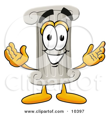 Clipart Picture of a Pillar Mascot Cartoon Character With Welcoming Open Arms by Toons4Biz