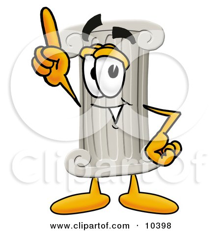 Clipart Picture of a Pillar Mascot Cartoon Character Pointing Upwards by Toons4Biz
