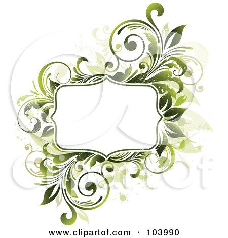Royalty-Free (RF) Clipart Illustration of a White Space Bordered By Green Vines And Beige Splatters by OnFocusMedia