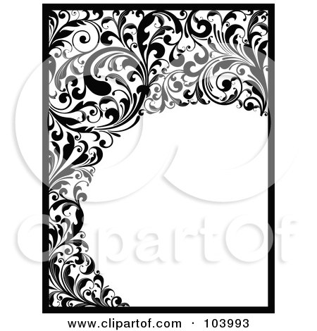Royalty-Free (RF) Clipart Illustration of a Black And White Border And Vine Scrolls by OnFocusMedia