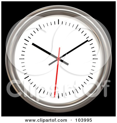 Royalty-Free (RF) Clipart Illustration of a 3d Chrome Rimmed Analog Wall Clock by ShazamImages