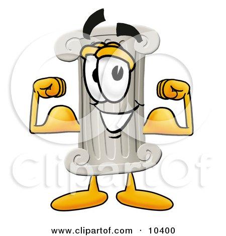 Pillar Mascot Cartoon Character Flexing His Arm Muscles Posters, Art Prints