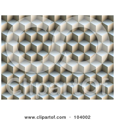 Royalty-Free (RF) Clipart Illustration of a 3d Background Of Stacked Cubes by ShazamImages