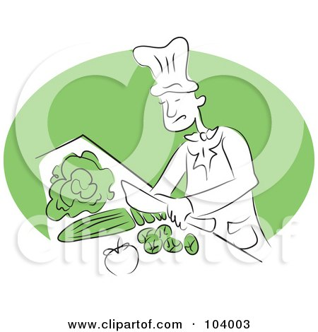 Royalty-Free (RF) Clipart Illustration of a Happy Chef Cutting Veggies by Prawny