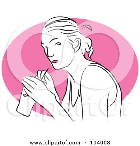 Royalty-Free (RF) Clipart Illustration of a Woman Drinking Soda by Prawny