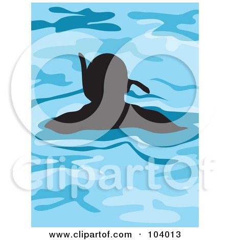 Royalty-Free (RF) Clipart Illustration of a Silhouetted Man Snorkeling by Prawny