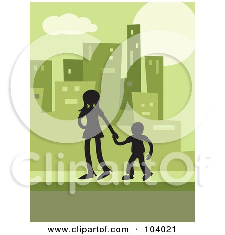 Royalty-Free (RF) Clipart Illustration of a Silhouetted Brother And Sister In A Green City by Prawny