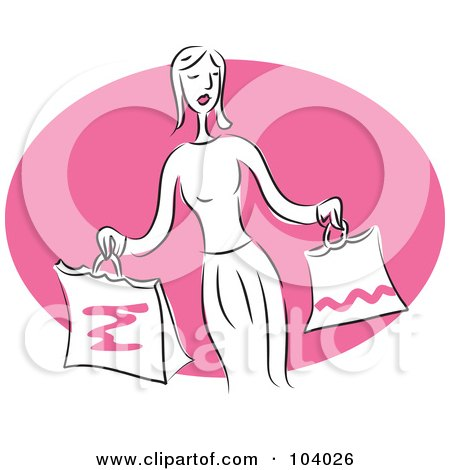 Royalty-Free (RF) Clipart Illustration of a Woman Holding Shopping Bags by Prawny