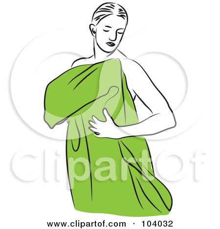 Woman Drying Off With ... Drying Off Clipart