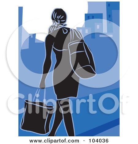 Royalty-Free (RF) Clipart Illustration of a Silhouetted City Woman Shopping Over Blue by Prawny