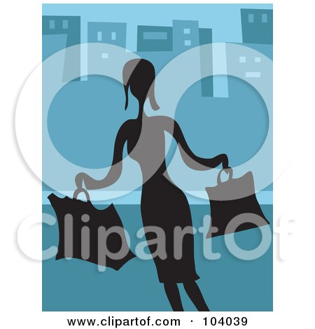 Royalty-Free (RF) Clipart Illustration of a Silhouetted Lady Shopping Over Blue by Prawny