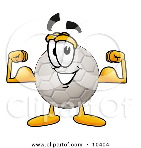 Royalty-free sports clipart illustration of an all white soccer ball mascot