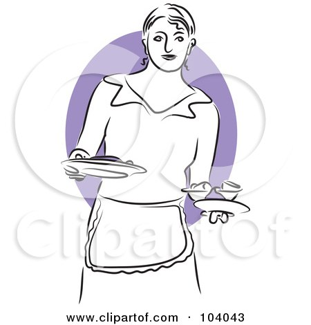 Royalty-Free (RF) Clipart Illustration of a Woman Serving Food by Prawny