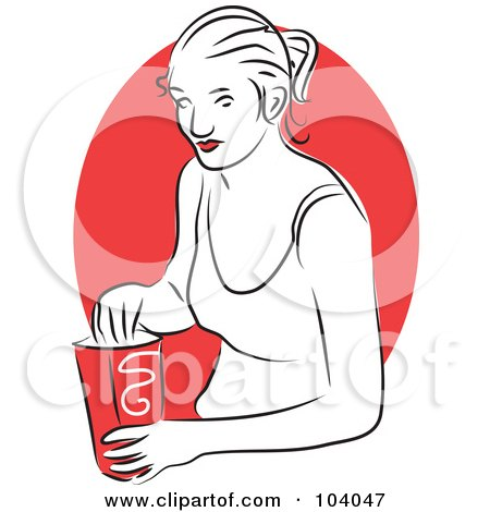 Royalty-Free (RF) Clipart Illustration of a Woman Eating a Snack by Prawny