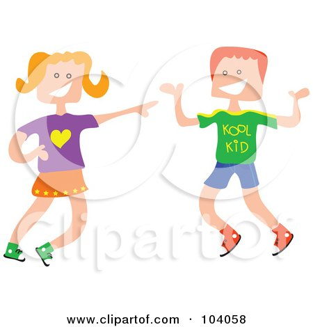 Royalty-Free (RF) Clipart Illustration of a Square Head Boy And Girl Laughing by Prawny