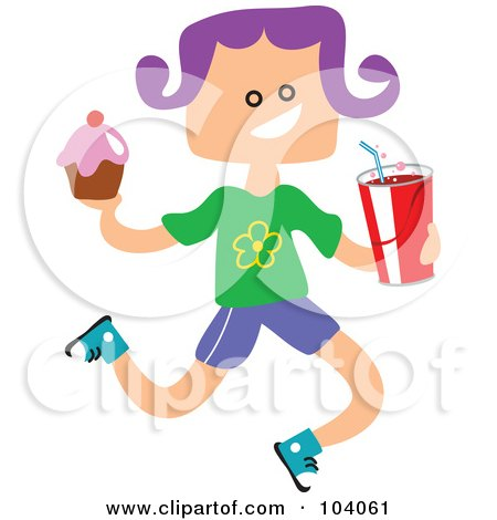 Royalty-Free (RF) Clipart Illustration of a Square Head Girl Carrying Junk Food by Prawny