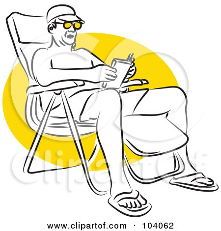 Royalty-Free (RF) Clipart Illustration of a Man Reading in a Beach Chair by Prawny