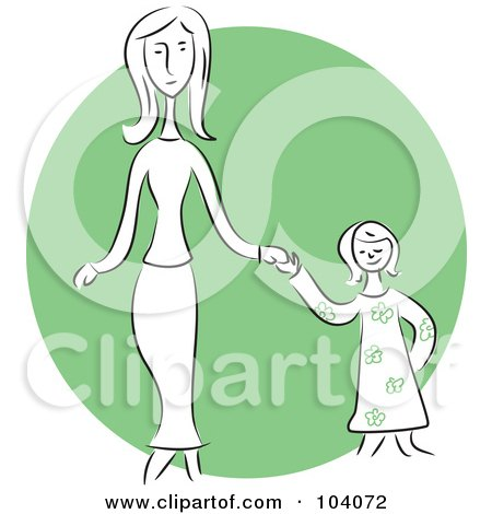 Royalty-Free (RF) Clipart Illustration of a Woman And Daughter Holding Hands by Prawny