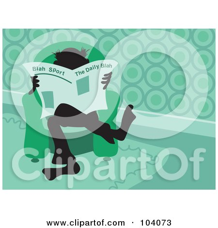 Royalty-Free (RF) Clipart Illustration of a Silhouetted Man Reading The Newspaper by Prawny