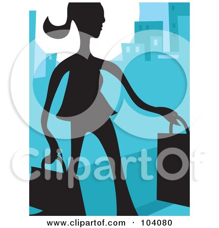 Royalty-Free (RF) Clipart Illustration of a Silhouetted Woman Shopping Over Blue by Prawny