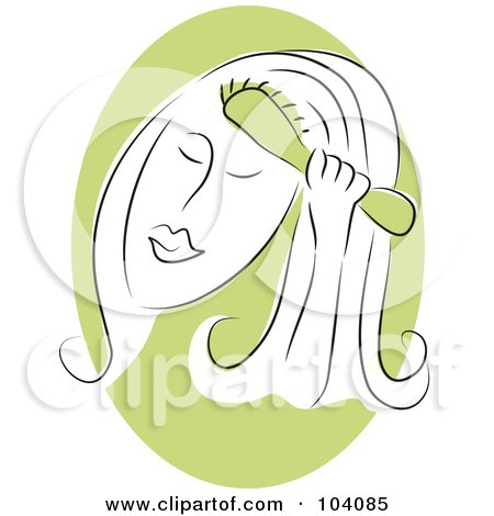 Royalty-Free (RF) Clipart Illustration of a Woman Brushing Her Hair by Prawny