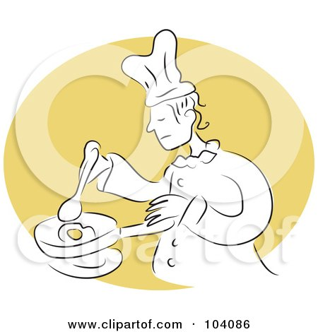 Royalty-Free (RF) Clipart Illustration of a Chef Cooking An Egg In A Pan by Prawny
