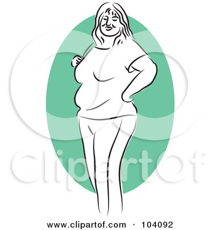 Royalty-Free (RF) Clipart Illustration of a Chubby Woman Standing by Prawny