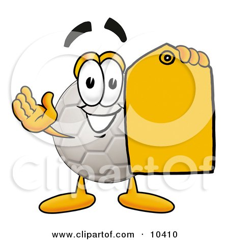 Clipart Picture of a Soccer Ball Mascot Cartoon Character Holding a Yellow Sales Price Tag by Toons4Biz