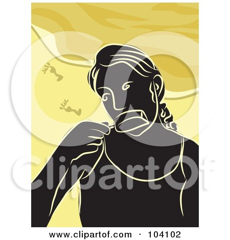 Royalty-Free (RF) Clipart Illustration of a Silhouetted Woman Eating A Popsicle On A Beach by Prawny