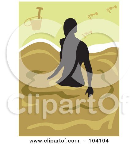 Royalty-Free (RF) Clipart Illustration of a Silhouetted Woman Wading On A Beach by Prawny