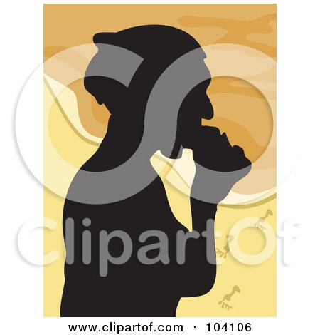 Royalty-Free (RF) Clipart Illustration of a Silhouetted Woman Eating On A Beach by Prawny