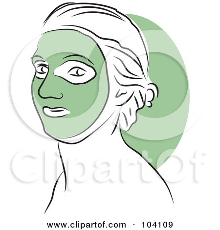 Royalty-Free (RF) Clipart Illustration of a Woman Wearing A Green Face Mask by Prawny