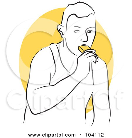 Royalty-Free (RF) Clipart Illustration of a Man Eating a Popsicle by Prawny