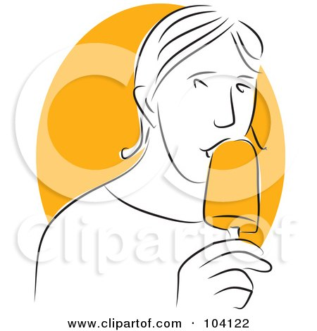 Royalty-Free (RF) Clipart Illustration of a Man Eating an Orange Popsicle by Prawny