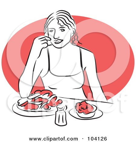 Royalty-Free (RF) Clipart Illustration of a Woman Eating at a Table by Prawny