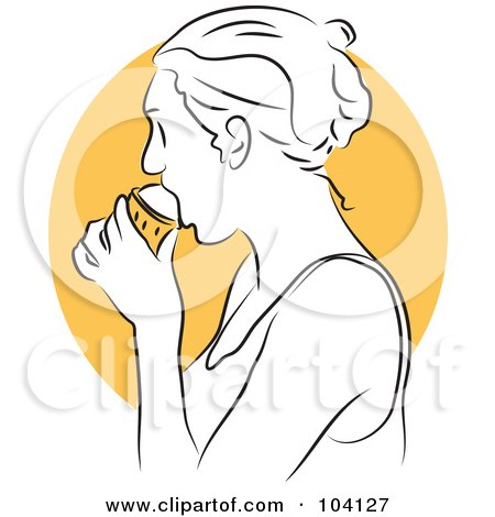 Royalty-Free (RF) Clipart Illustration of a Woman Eating Ice Cream by Prawny