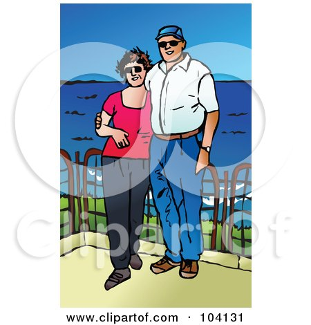 Royalty-Free (RF) Clipart Illustration of a Happy Middle Aged Couple At The Coast by Prawny