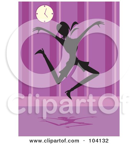 Royalty-Free (RF) Clipart Illustration of a Silhouetted Joyful Woman by Prawny