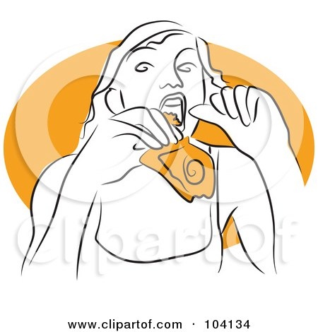 Royalty-Free (RF) Clipart Illustration of a Woman Eating Pizza by Prawny