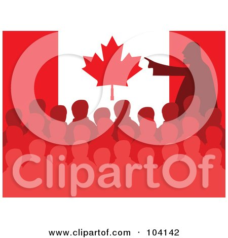 Royalty-Free (RF) Clipart Illustration of a Silhouetted Man Speaking At A Meeting In Front Of A Canadian Flag by Prawny