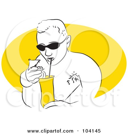 Royalty-Free (RF) Clipart Illustration of a Man Drinking A Cocktail by Prawny