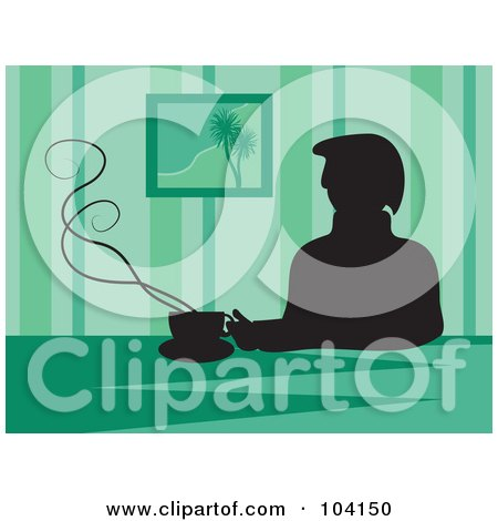Royalty-Free (RF) Clipart Illustration of a Silhouetted Man Drinking Coffee, Over Green by Prawny