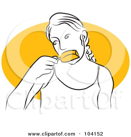 Royalty-Free (RF) Clipart Illustration of a Woman Eating a Popsicle by Prawny