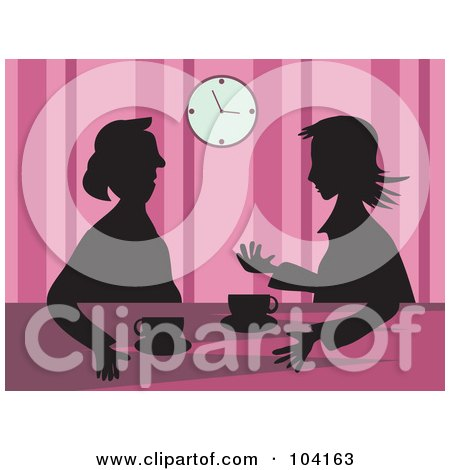 Royalty-Free (RF) Clipart Illustration of Silhouetted Women Drinking Coffee, Over Pink by Prawny